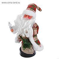 Дед Мороз, с мешком подарков, в клетчатой жилетке, с подсветкой, русская мелодия