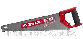Ножовка по дереву (пила) ЗУБР МОЛНИЯ-5 400 мм, 5 TPI, прямой крупный зуб, быстрый рез поперек волокон