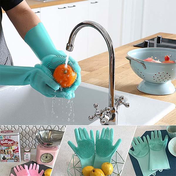 Magic brush силиконовые перчатки для мытья посуды