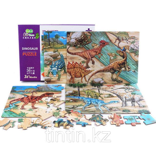 Набор из 4 двусторонних  пазлов - Динозавры, 29,5 х 21,5 см