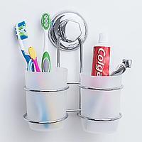 Tatkraft MEGA LOCK ODR Два стакана для ванной комнаты на вакуумной присоске 20436