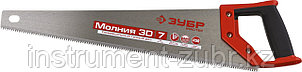 Ножовка универсальная (пила) ЗУБР МОЛНИЯ-3D 450 мм, 7TPI, 3D зуб, точный рез вдоль и поперек волокон, фото 2