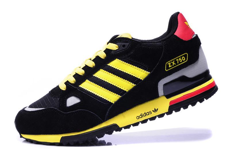 Кроссовки Adidas ZX 750 черный с желтым