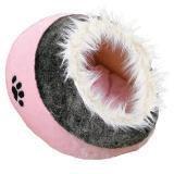 "Trixie Лежак-пещера ""Minou"" 41 х 42 х 26 см, плюш, розовый/серый, с рис. ""лапка"""