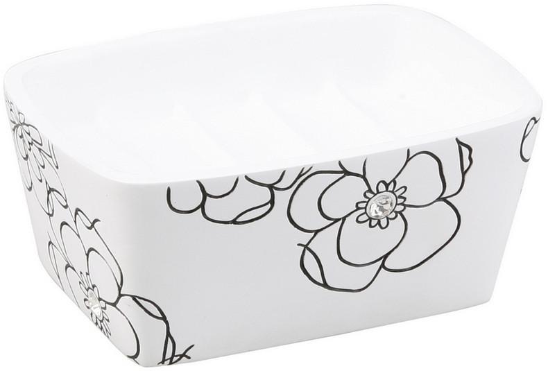 Мыльница Аквалиния белый цветок BPO-0307D