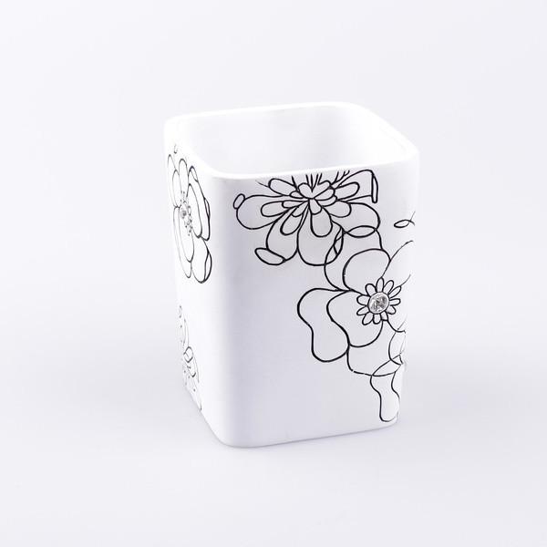 Стакан Аквалиния белый цветок BPO-0307C