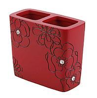 Подставка для зубных щеток красный цветок Аквалиния BPO-0308B
