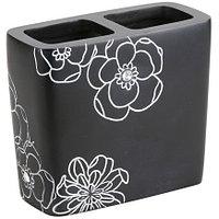 Подставка для зубных щеток Аквалиния черный цветок BPO-0306B