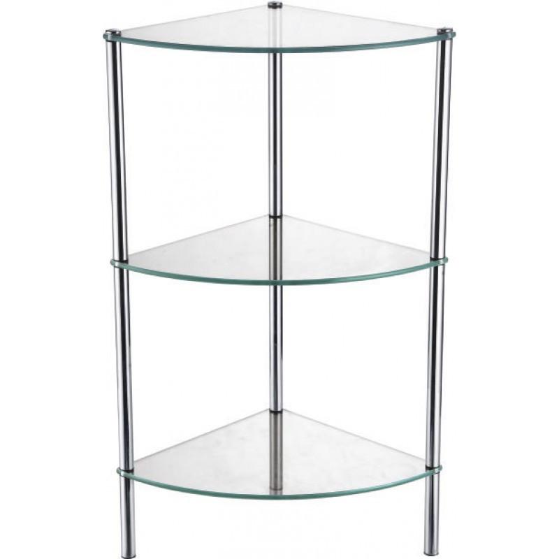 Угловая стеклянная этажерка Fixsen FX-9223 трехэтажная