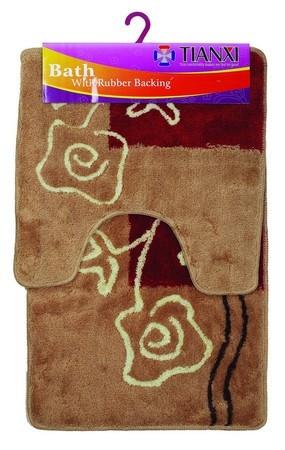 Набор 2 ковра коричневый/бордовый квадрат Аквалиния 50*80 (88)