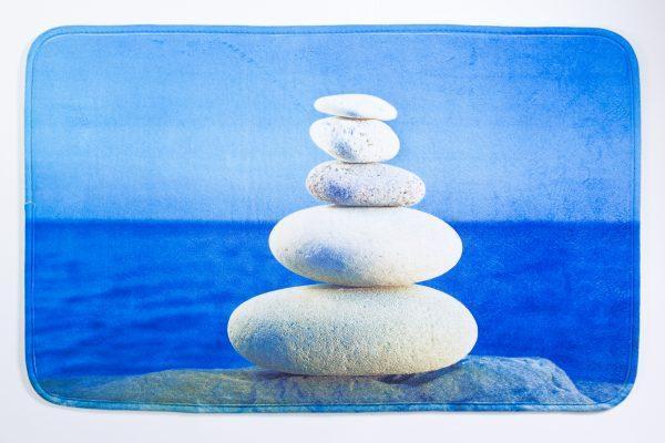 Коврик для ванной нейлон Синий камни Аквалиния 45*75 (CDB652MA)