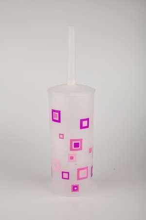 Ерш сантехнический пластик розовые квадраты Аквалиния (8521Е)