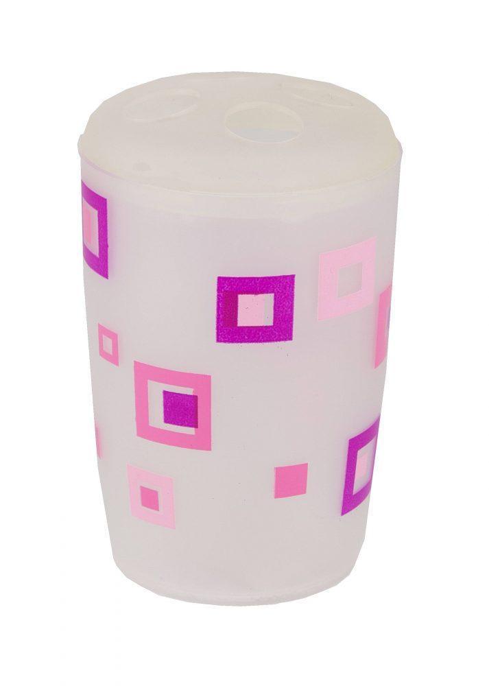 Подставка пластик для зубных щеток  розовые квадраты Аквалиния (8521П)
