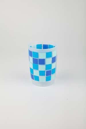 Стакан пластик синии квадраты Аквалиния (8517С)
