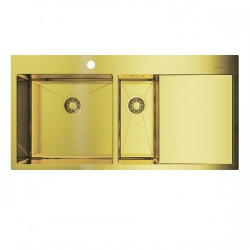 Кухонная мойка Omoikiri Akisame  100-2-LG-L (4973089) нерж сталь 90 см