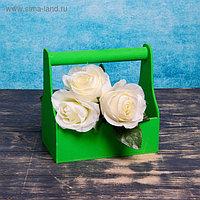 Кашпо флористическое, зелёное, с ручкой, 20х20х12,5см