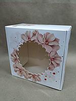 Коробка с окном 16*16*9см цветы розовые