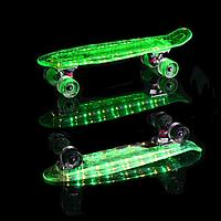 Скейт - Пенни борд светящийся в темноте прозрачный
