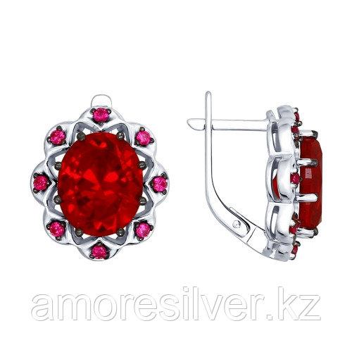 Серьги из серебра с фианитом и рубином синт.   SOKOLOV 84020031