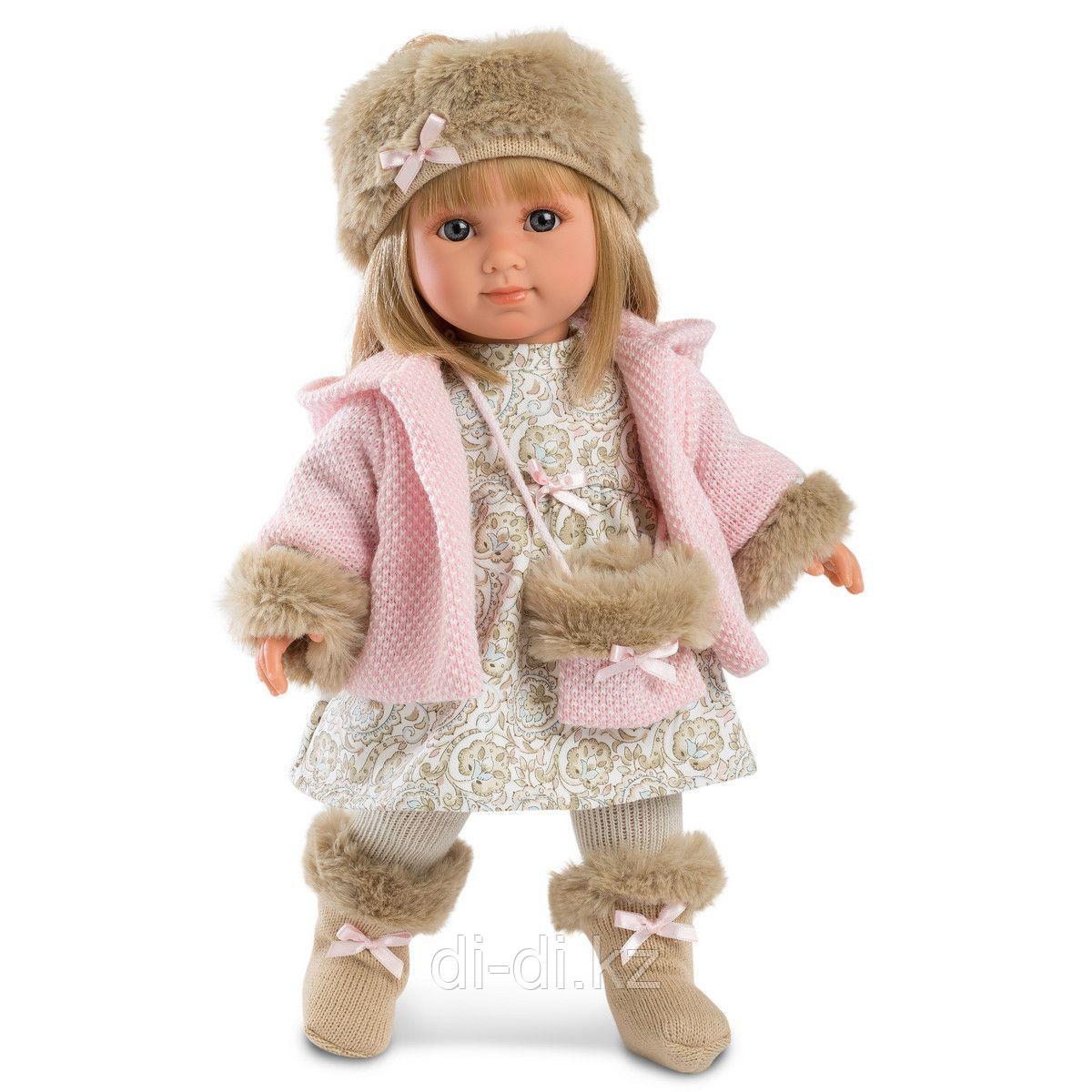 LLORENS Кукла Елена 35см, блондинка в розовом пальто
