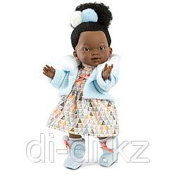 LLORENS Кукла Валерия 28см, афро в голубой курточке