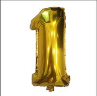 Шар фольгированный цифра 1 (Цвет золото, черный) без гелия