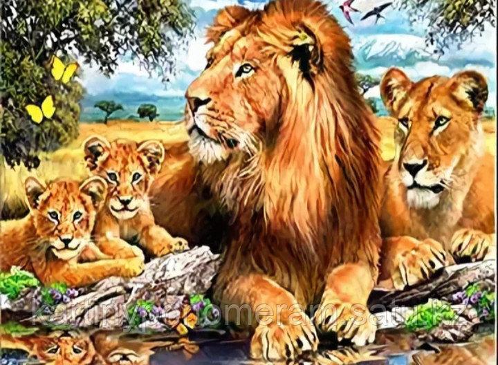 """Картина по номерам """"Львы с малышами"""""""