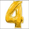 Шар фольгированный цифра 1 метр цвет микс цифра 4 без гелия