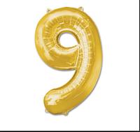 Шар фольгированный цифра 1 метр цвет микс цифра 9 без гелия