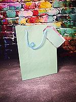 Пакеты текстурные бирюза с биркой 18*23, фото 1