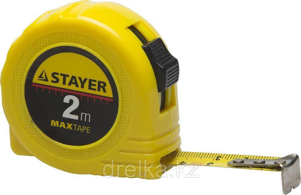 STAYER MaxTape 2м / 16мм рулетка в ударопрочном корпусе из ABS