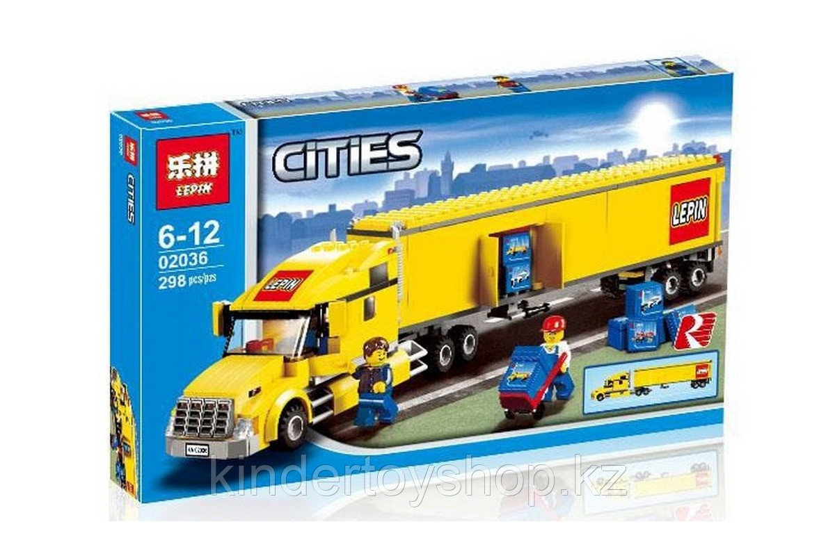 "Конструктор Lepin 02036 ""Желтый Грузовик трейлер"" 298 деталей  аналог LEGO 3221"