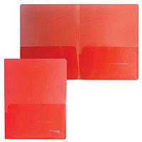 Папка-уголок с 2 карманами BRAUBERG, красная, 0,18 мм, 224882