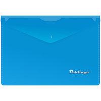 Папка-конверт на кнопке Berlingo, A5+, 180мкм, синяя 05002