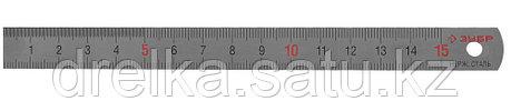 """Линейка ЗУБР """"ЭКСПЕРТ"""" нержавеющая, узкая, двусторонняя, непрерывная шкала 1/2мм, длина 0,15 м, толщина 0,5 мм, фото 2"""