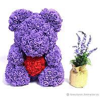 """Мишка из роз большой цвет микс """" Фиолетовый с сердцем"""""""