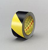 Лента оградительная ПВХ жёлто-чёрная 50 м (липкая)