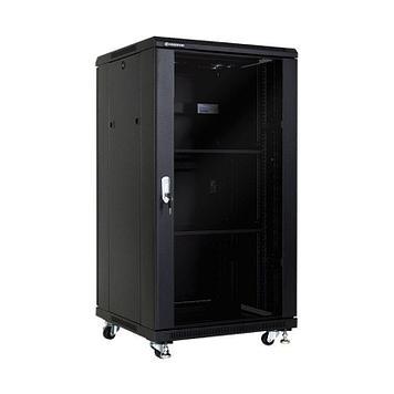 Шкаф напольный 27U, 600*800*1400, цвет чёрный, передняя дверь стеклянная (тонированная),  2 полки, блок вентил