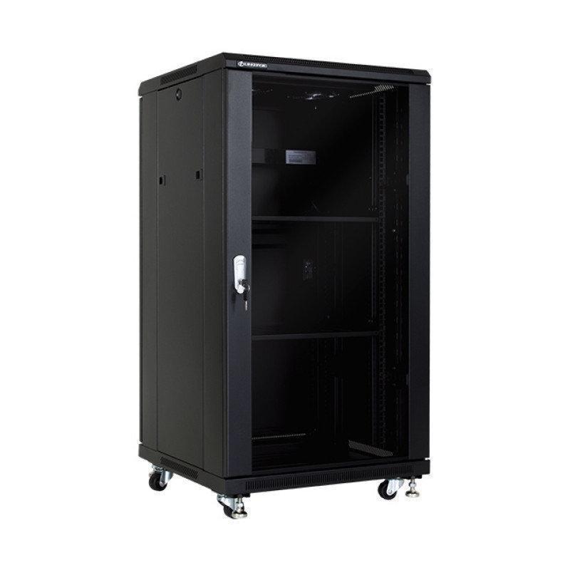 Шкаф напольный 32U, 600*800*1600, цвет чёрный, передняя дверь стеклянная (тонированная),  2 полки, блок вентил