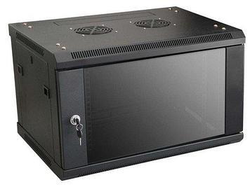LinkBasic Шкаф настенный 6U, 600*450*367, цвет чёрный, передняя дверь стеклянная (тонированная)
