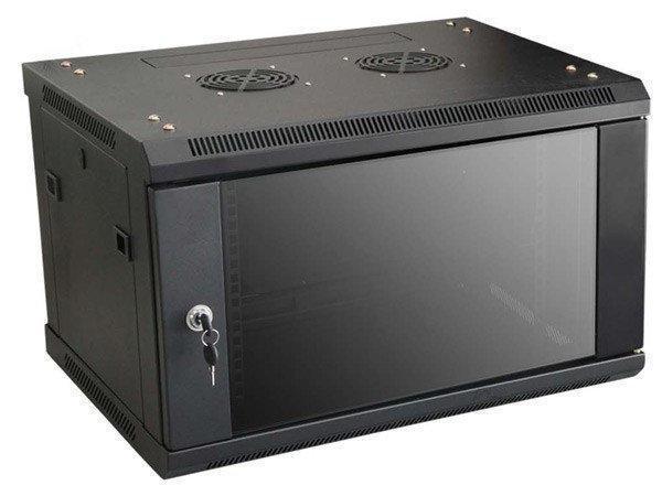 LinkBasic Шкаф настенный 9U, 600*600*500, цвет чёрный, передняя дверь стеклянная (тонированная)