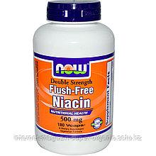 Ниацин, без покраснений, двойная сила, 500 мг, 180 капсул, Now Foods