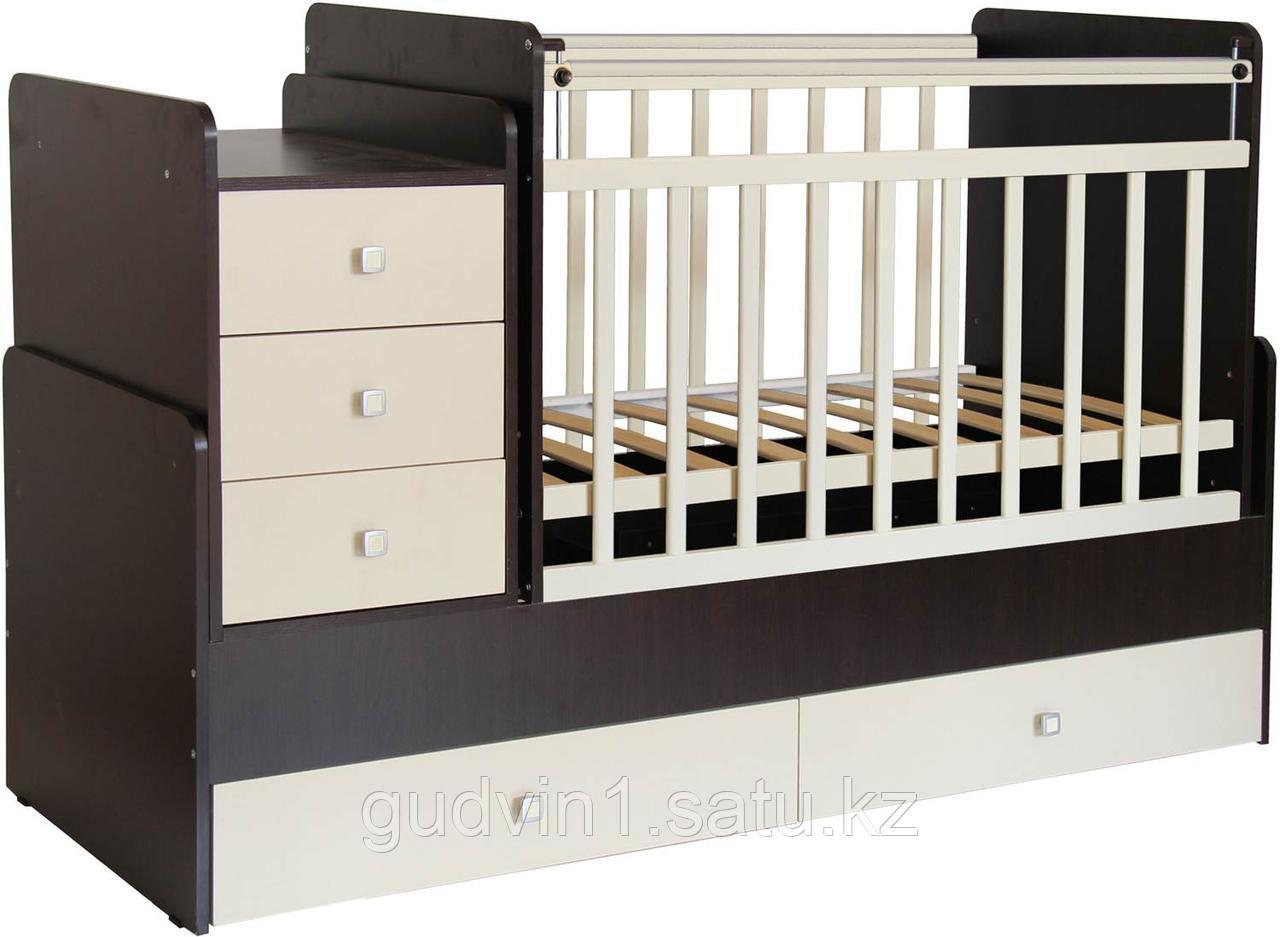 Детская кроватка-трансформер Фея 1100 ВЕНГЕ-БЕЖЕВЫЙ 00-53903
