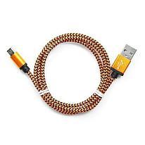 Кабель USB 2.0 Cablexpert CC-mUSB2oe1m  USB-MicroUSB  1м  нейлоновая оплетка  алюм разъемы  оранжев