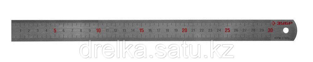 """Линейка ЗУБР """"ЭКСПЕРТ"""" нержавеющая, двусторонняя, непрерывная шкала 1/2мм / 1мм, двухцветная, длина 0,3м"""