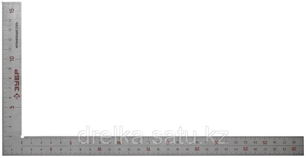 "Угольник ЗУБР ""ЭКСПЕРТ"" столярный нерж. сталь, шкала: шаг 1 мм, гравированная, 300 х 150 мм"