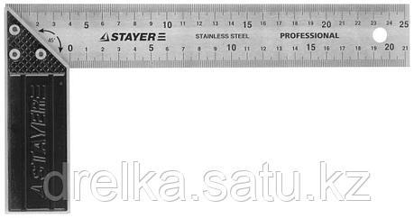 """Угольник STAYER """"PROFI"""" столярный, гравированная шкала, нержавеющее полотно 37мм, 250мм, фото 2"""