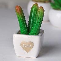 Суккулент в керамическом горшочке Love, 10.5 x 5.5 x 6 см