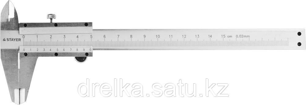 STAYER PROFI штангенциркуль, метрическая шкала, с глубиномером, нержавеющая сталь, 150мм