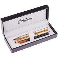 """Набор Delucci """"Celeste"""": ручка шарик., 1мм и ручка-роллер, 0,6мм, синие, корпус золото, подар.уп."""